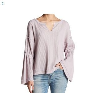 Free people waffle knit v neck top